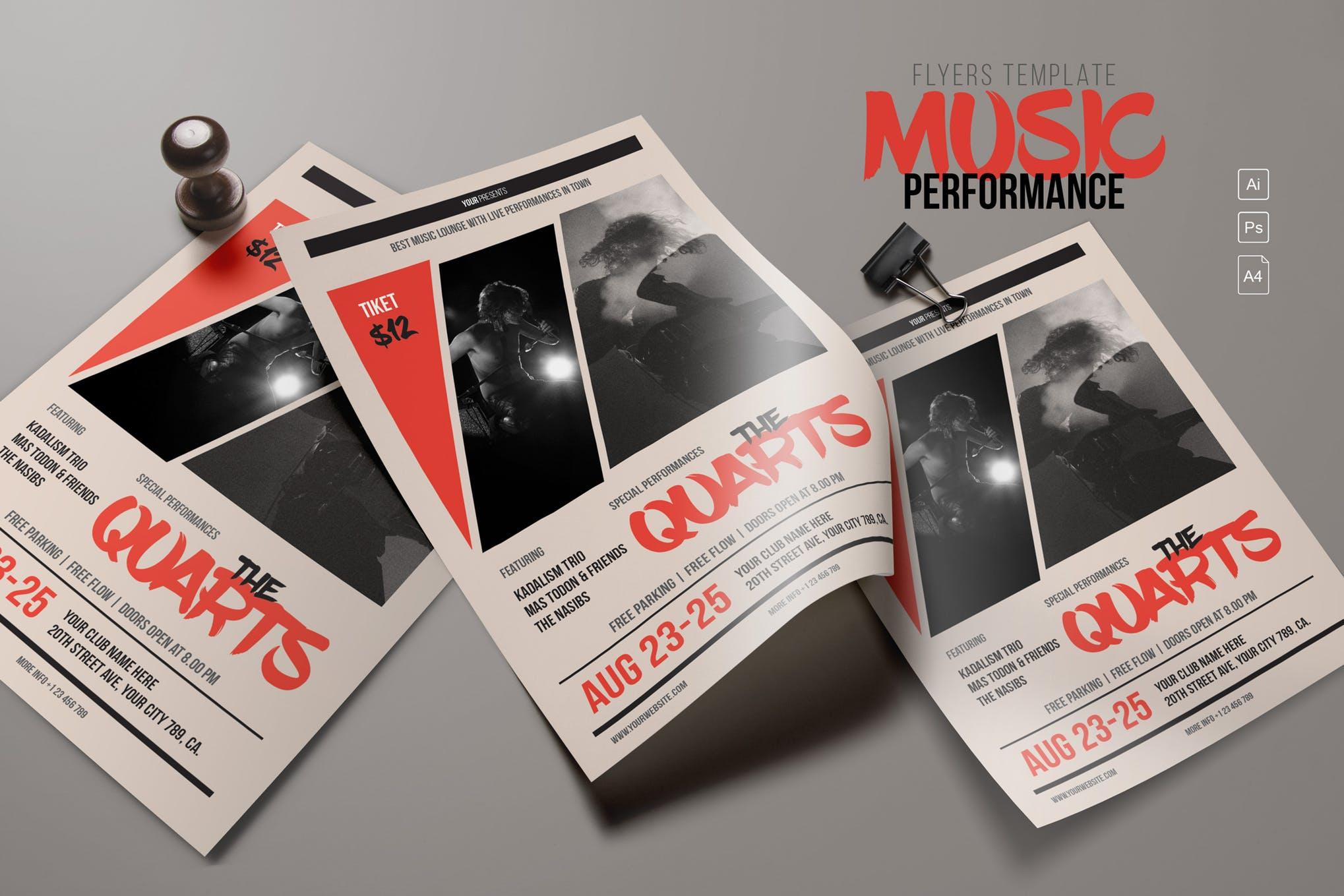 音乐表演宣传传单海报模板