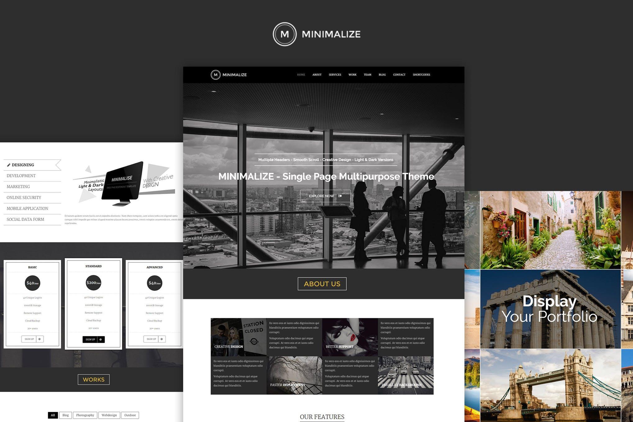 Minimalize - 多用途单页HTML5网页模板