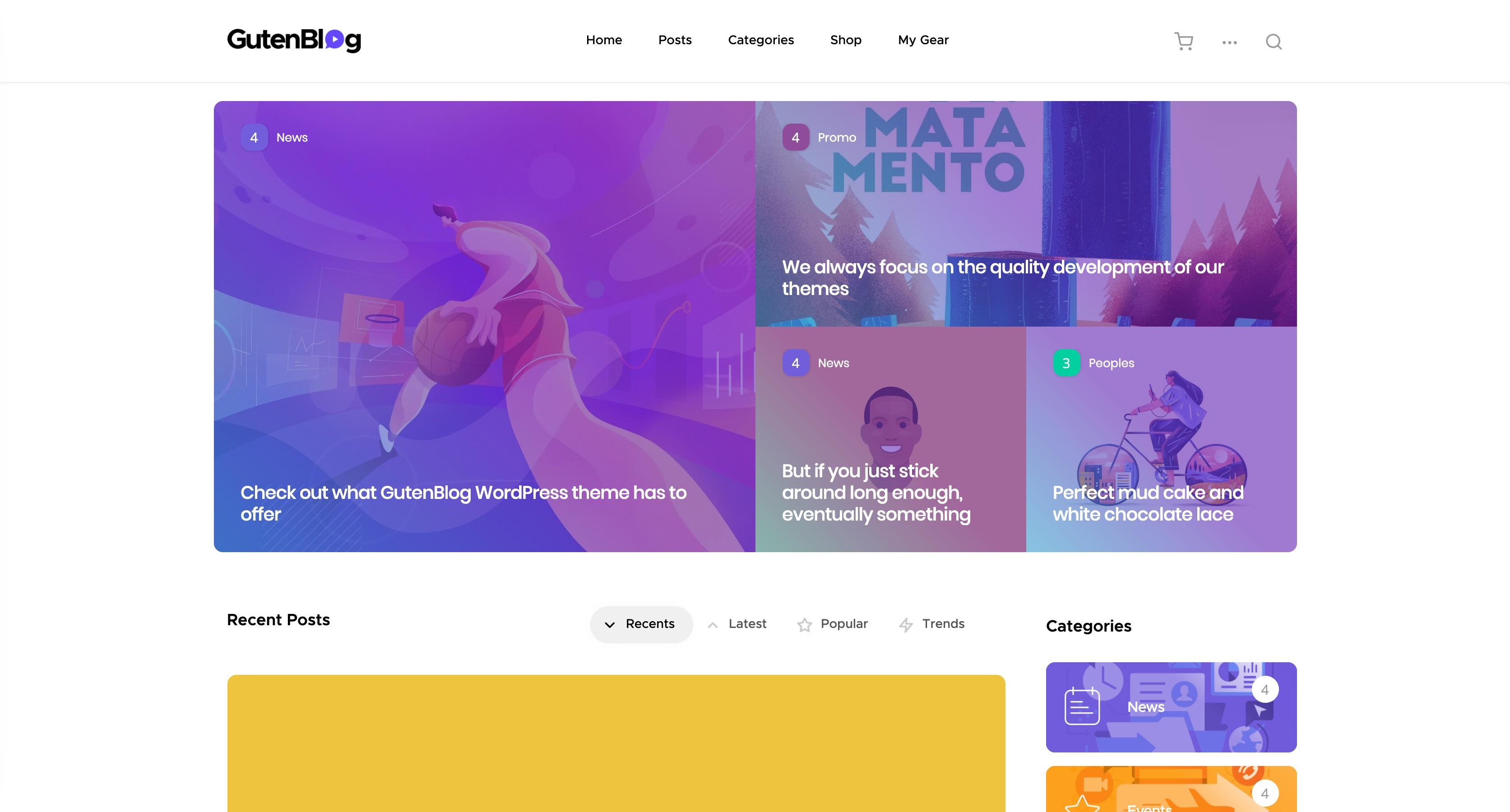 Gutenblog-现代时尚博客模板WordPress主题