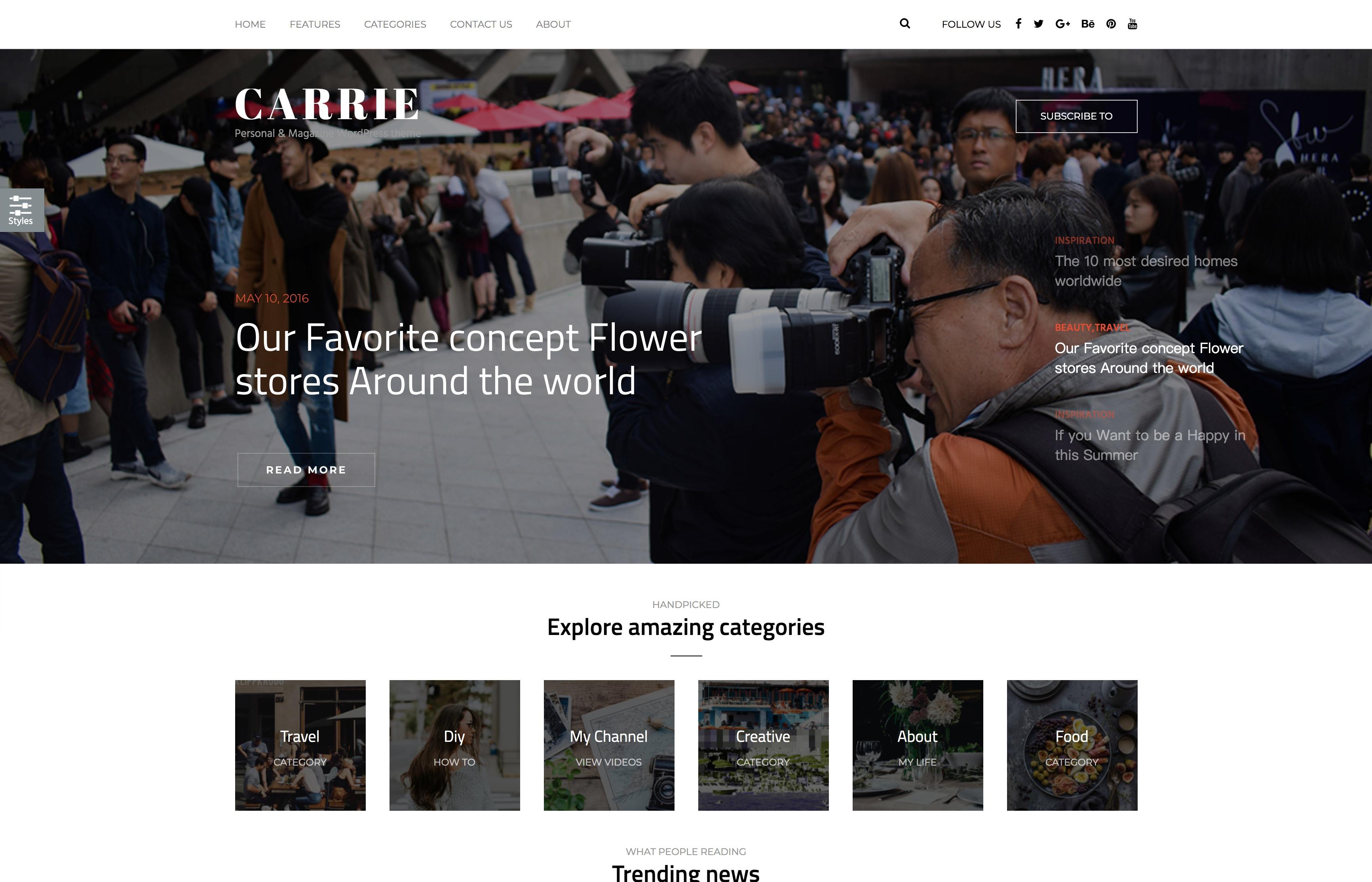 Carrie - 新闻专业摄影博客WordPress主题