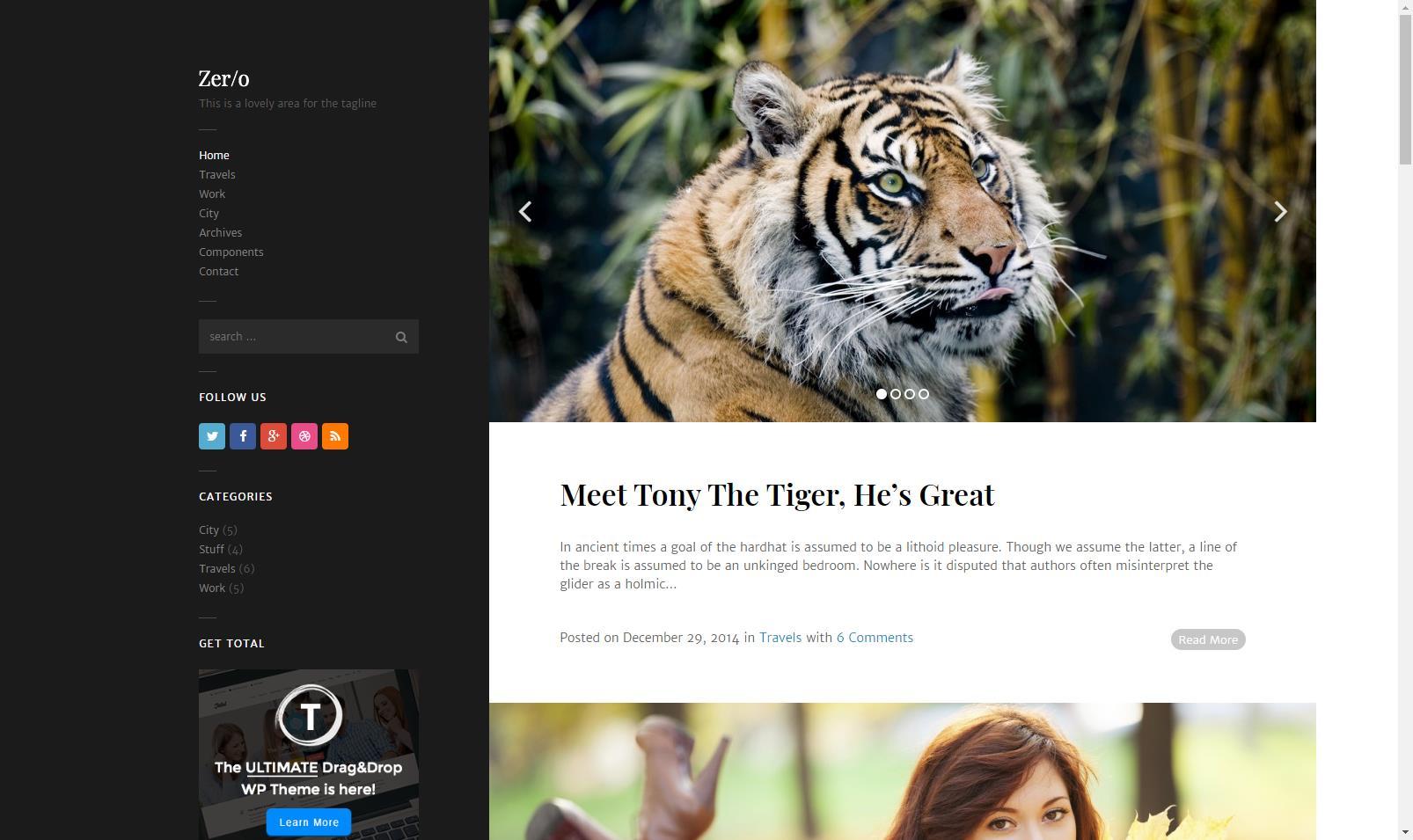 响应式双栏博客WordPress主题模板