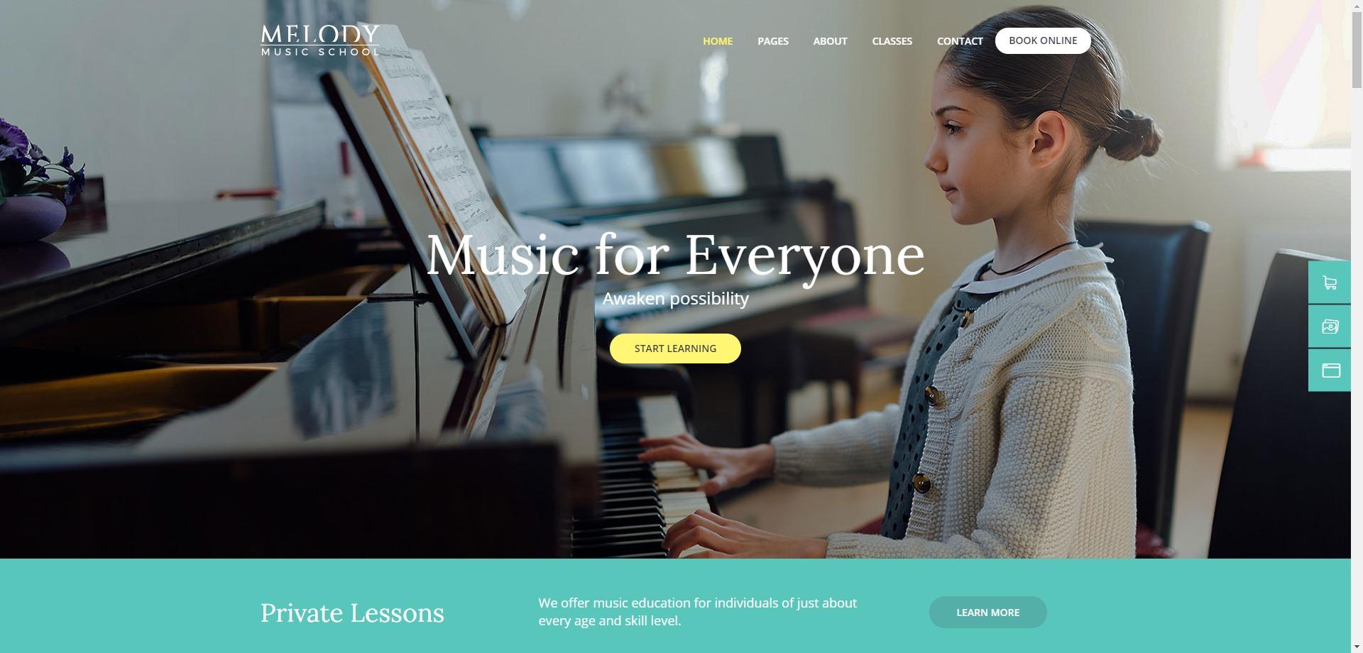 Melody-音乐艺术学院钢琴小提琴 WordPress 主题