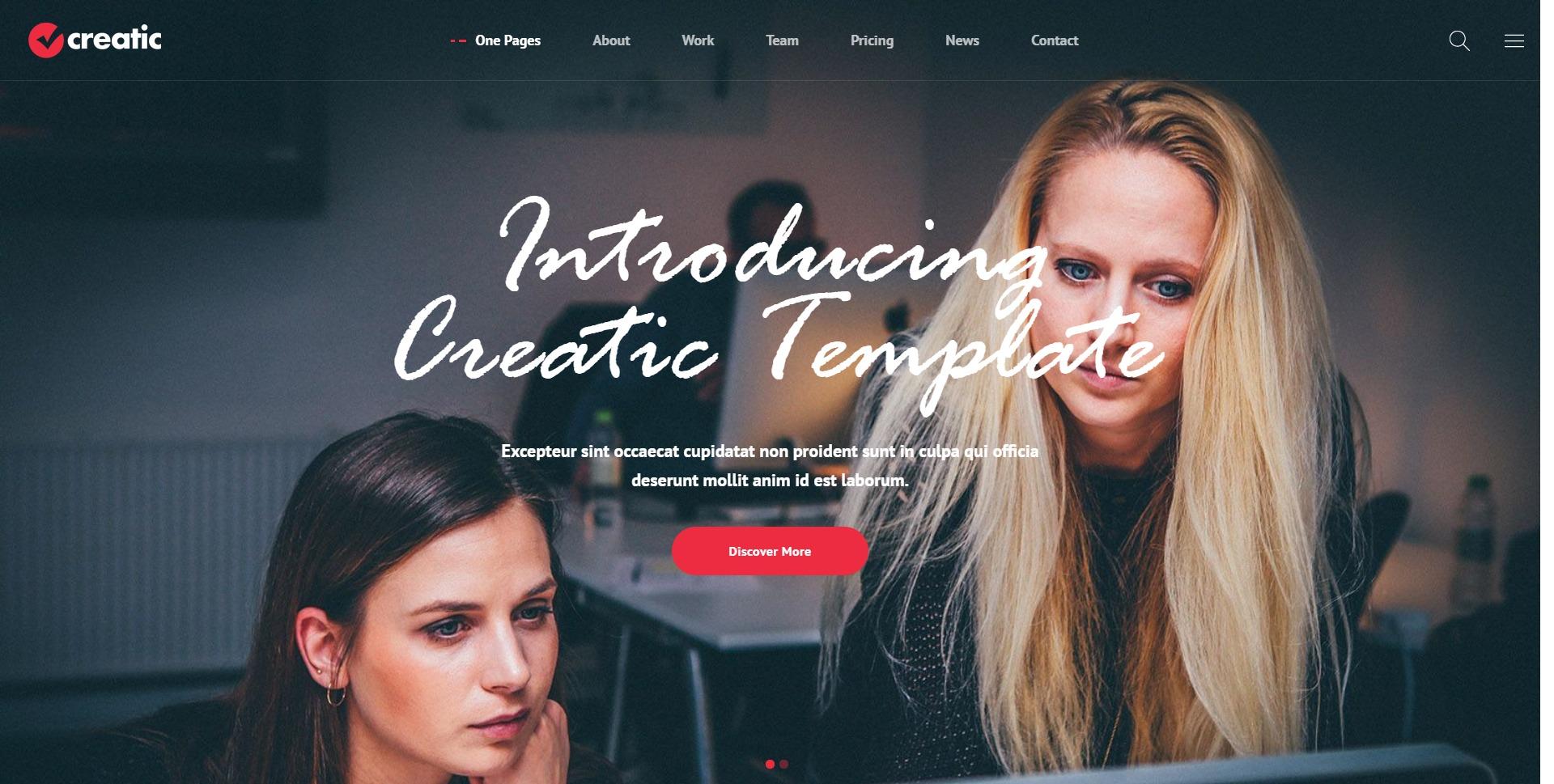 Creatic-创意单页个人简历WordPress主题