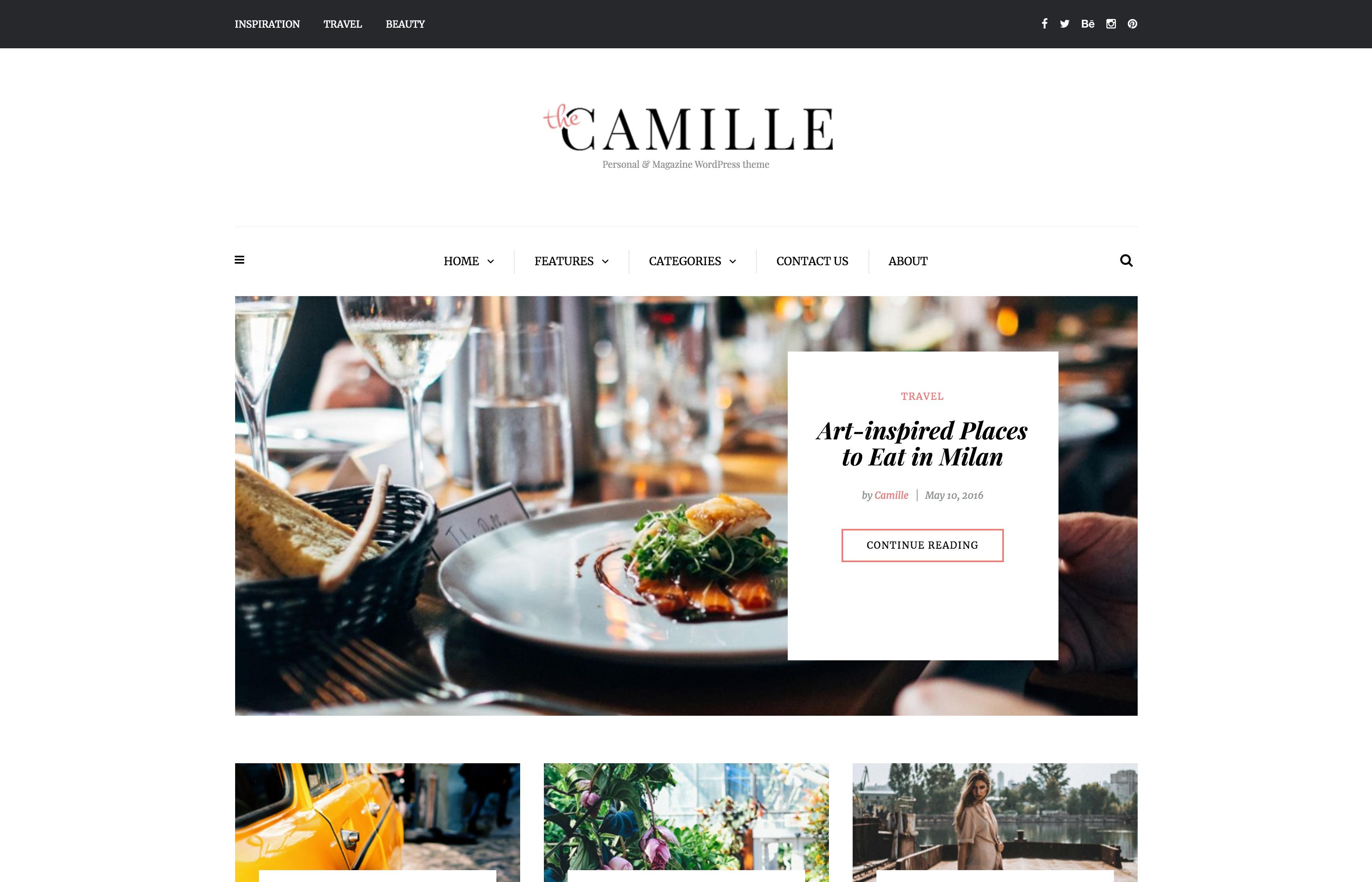 Camille-个人新闻博客日志响应式WordPress主题
