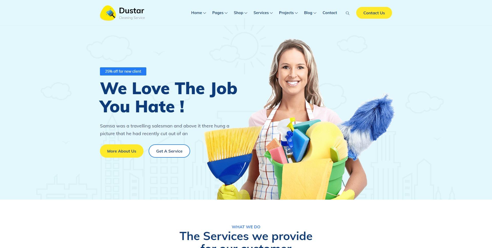 Dustar-清洁卫生保洁服务家政WordPress主题