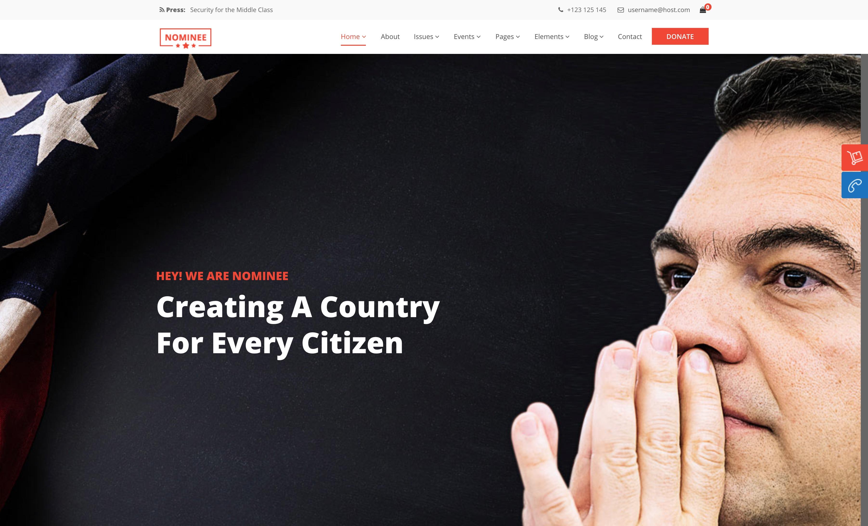 Nominee - 政府机构选举公益慈善WordPress主题