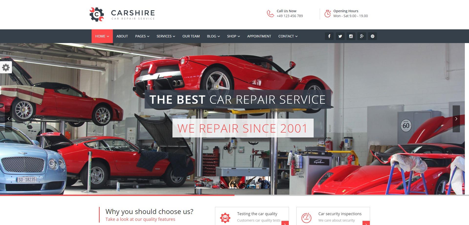 Car Shire-机械汽车保养修理厂WordPress主题