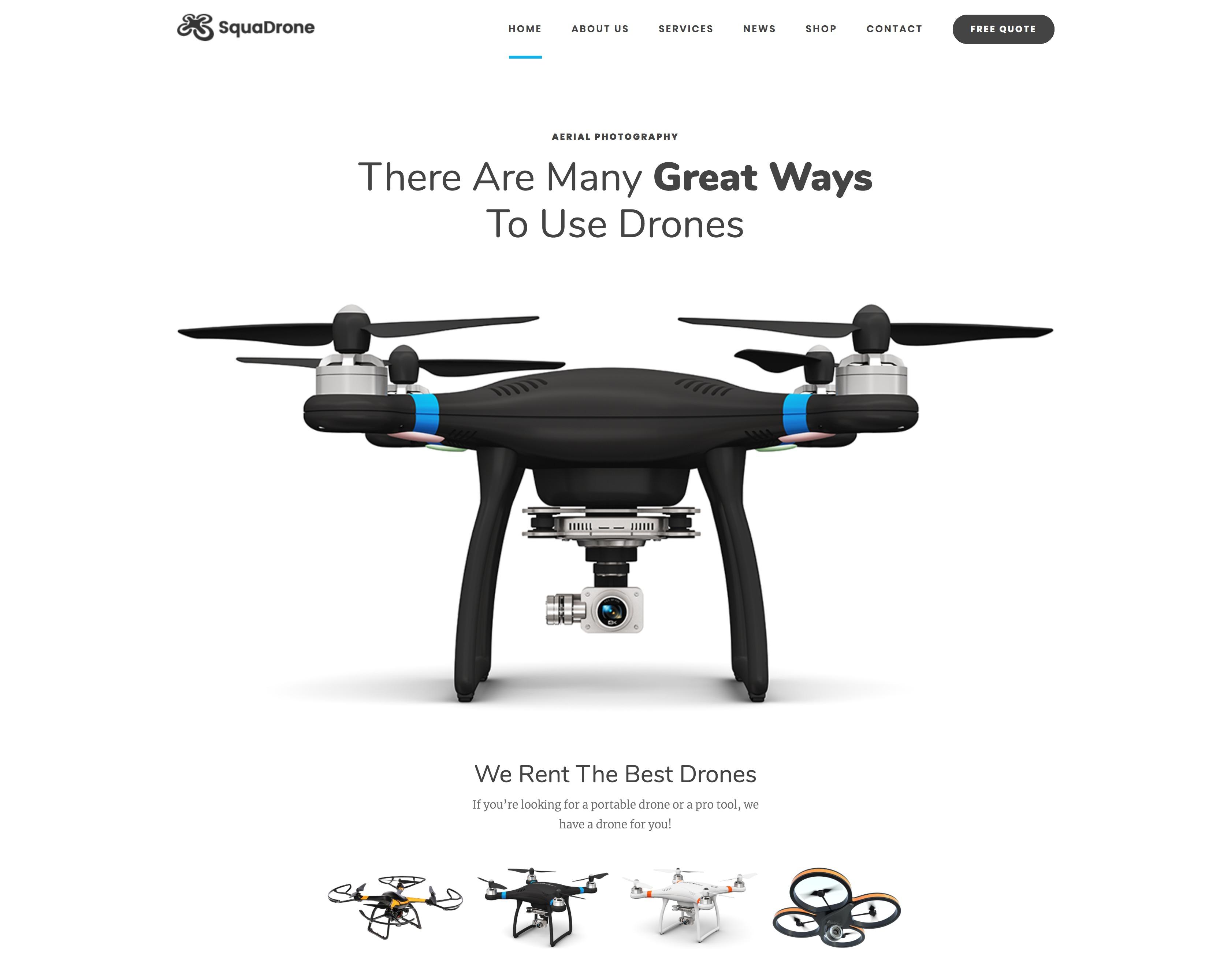 SquaDrone - 航拍无人机拍摄WordPress主题