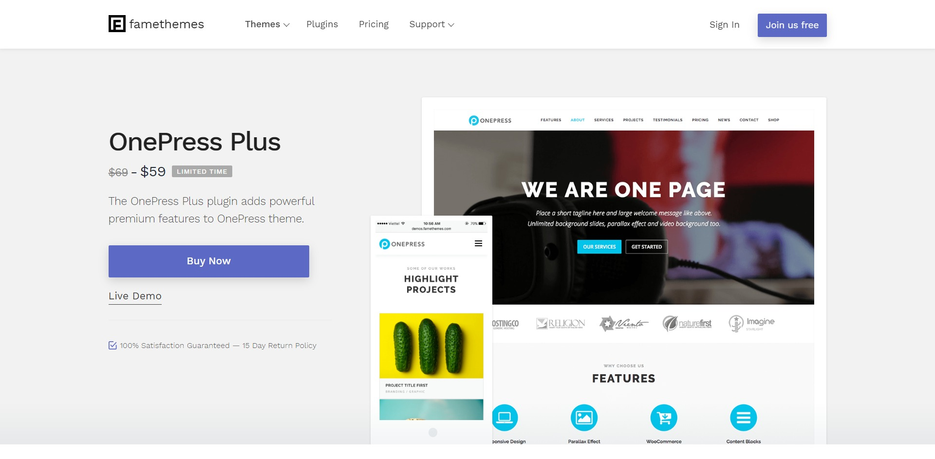 OnePress Plus-创意简洁单页WordPress主题