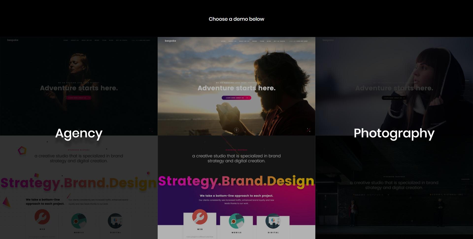 Bespoke-创意展示单页简历WordPress主题