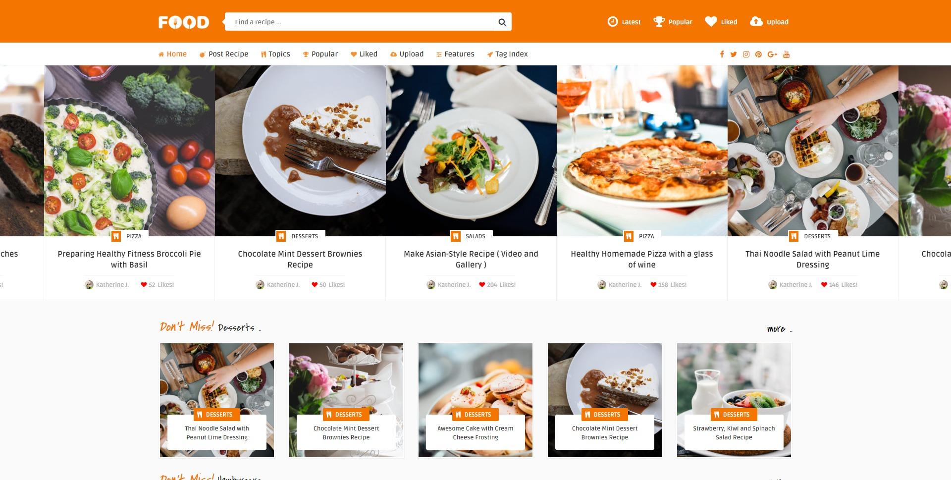 Food-分享食谱博客美食博主WordPress主题