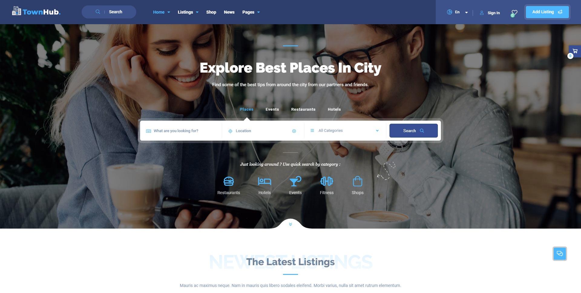 TownHub-商家打卡网红店点评分享WordPress主题