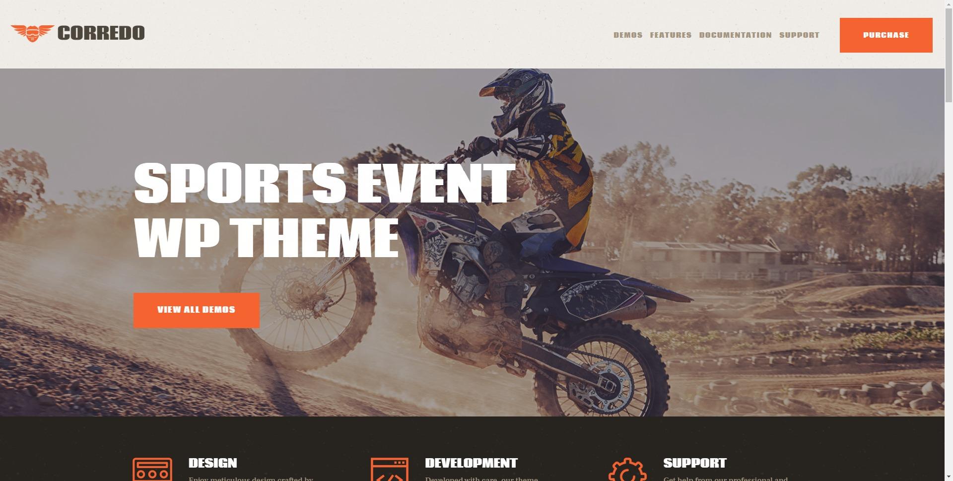 Corredo-自行车摩托车体育赛事WordPress主题