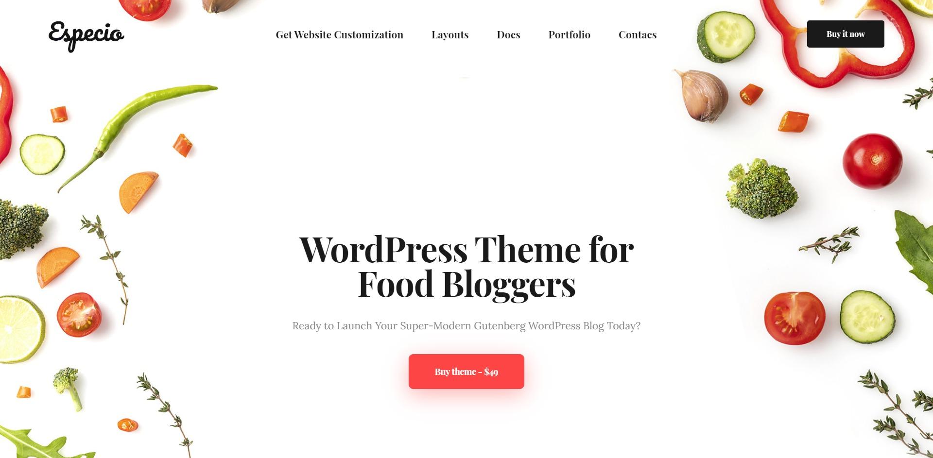 Especio-多功能可视化美食博客WordPress主题