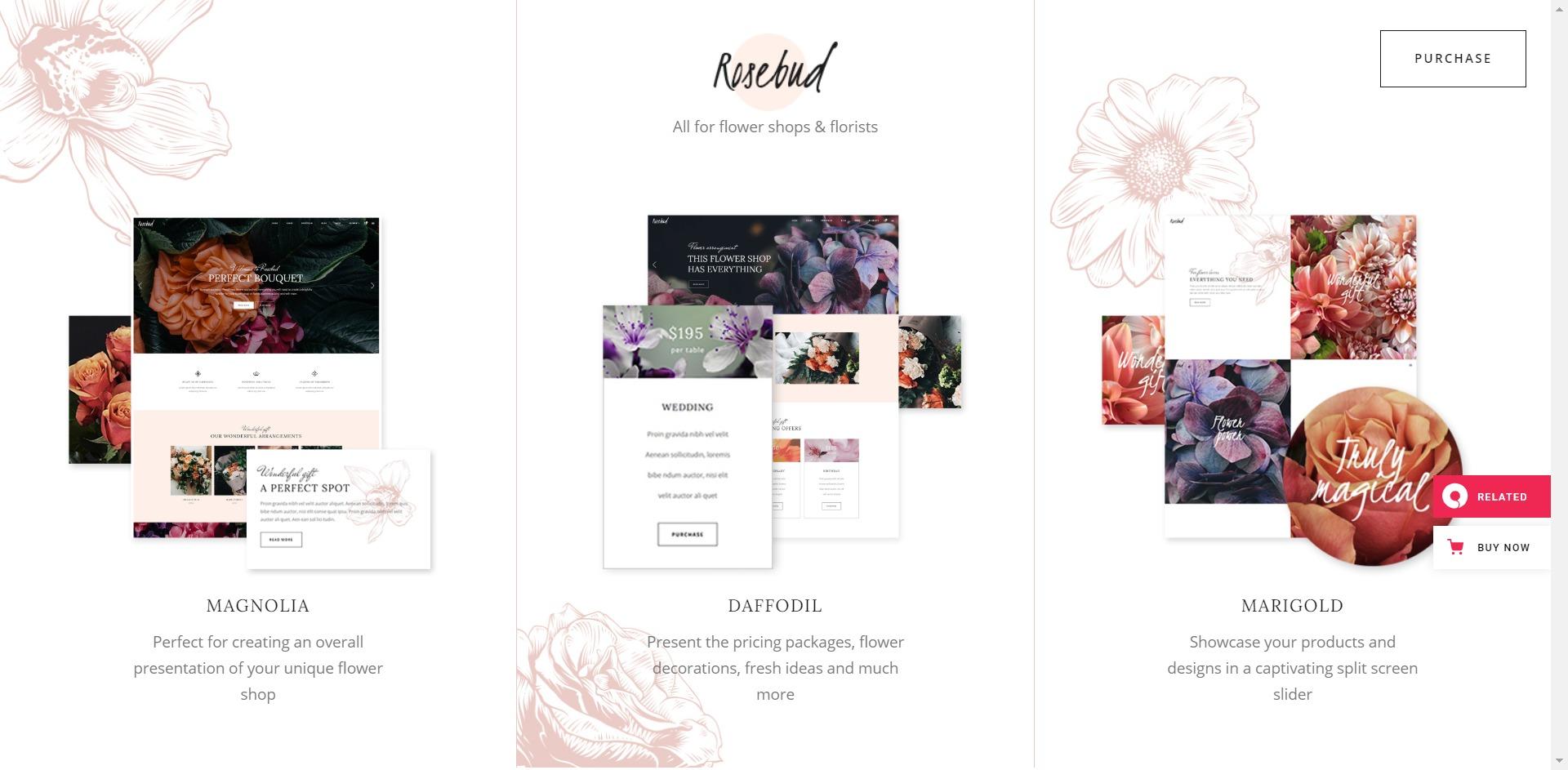 Rosebud-在线预定鲜花速递WordPress主题