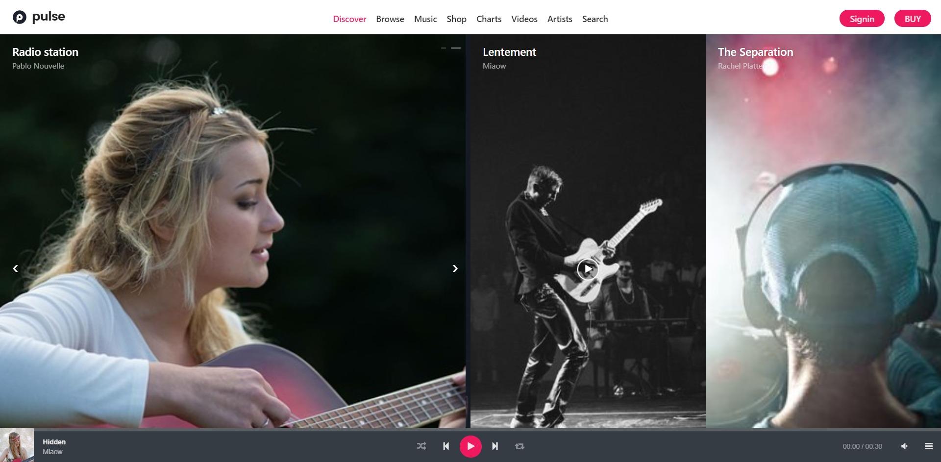 Pulse-在线音乐播放音频广播WordPress主题