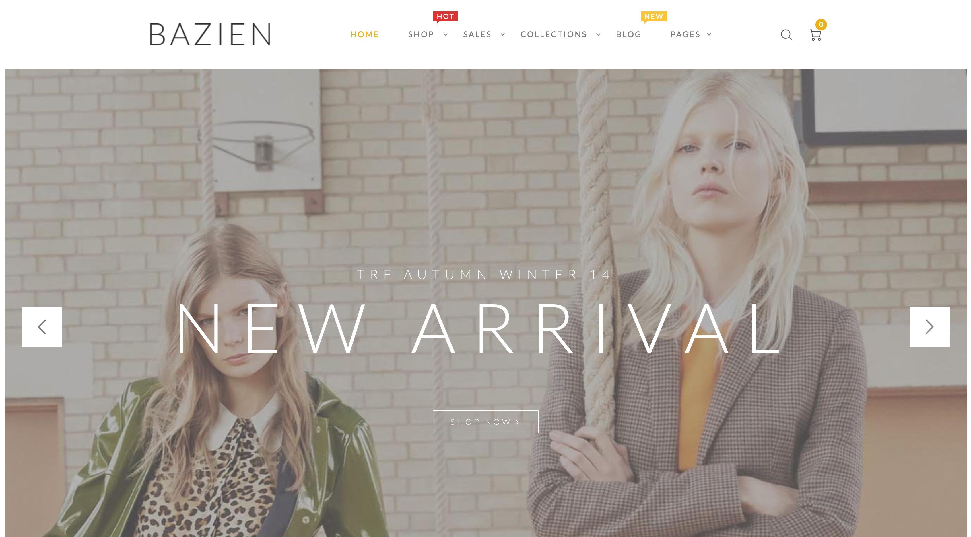 Bazien-在线服饰购物商城WordPress主题