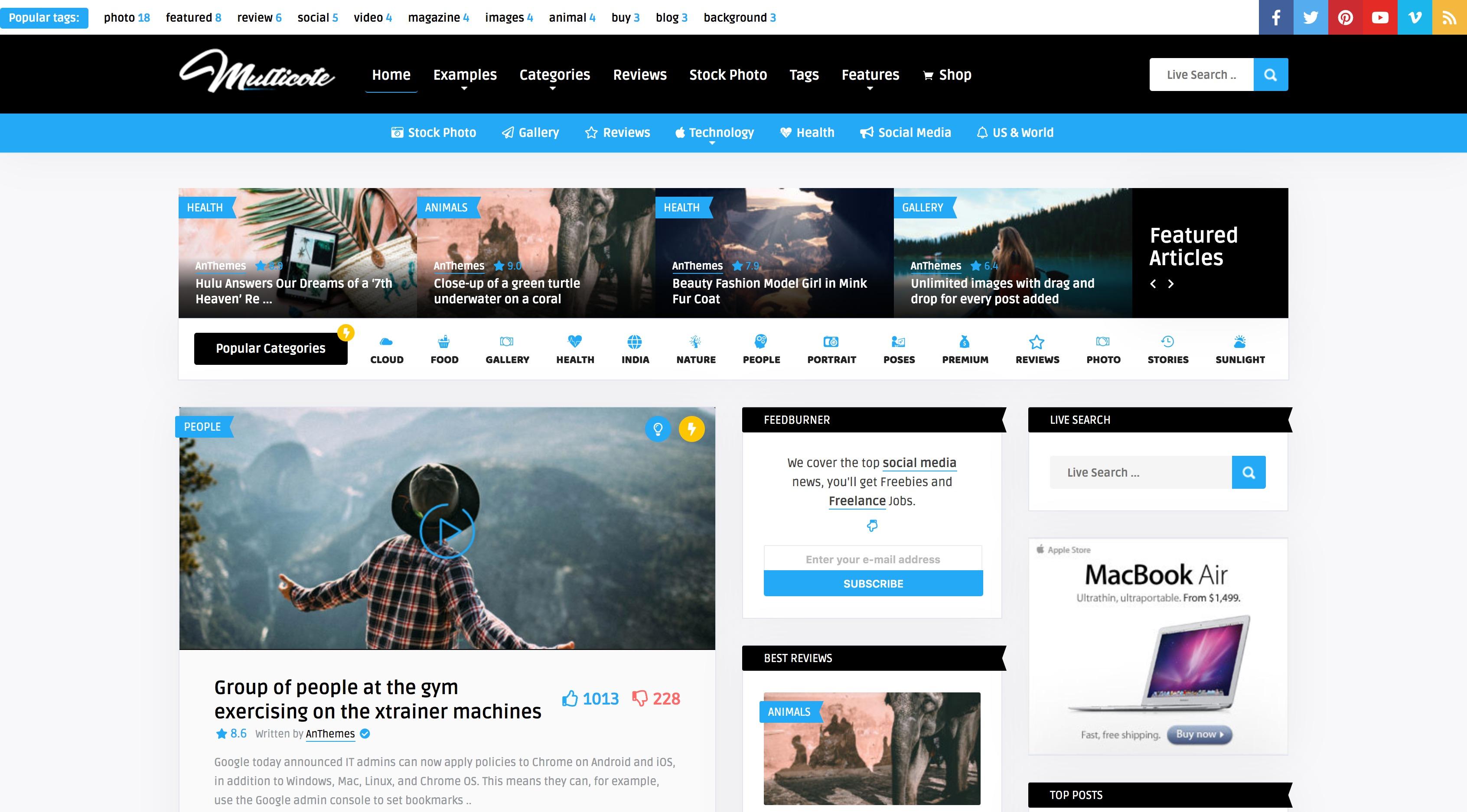 Multicote-多用途新闻博客杂志WordPress主题