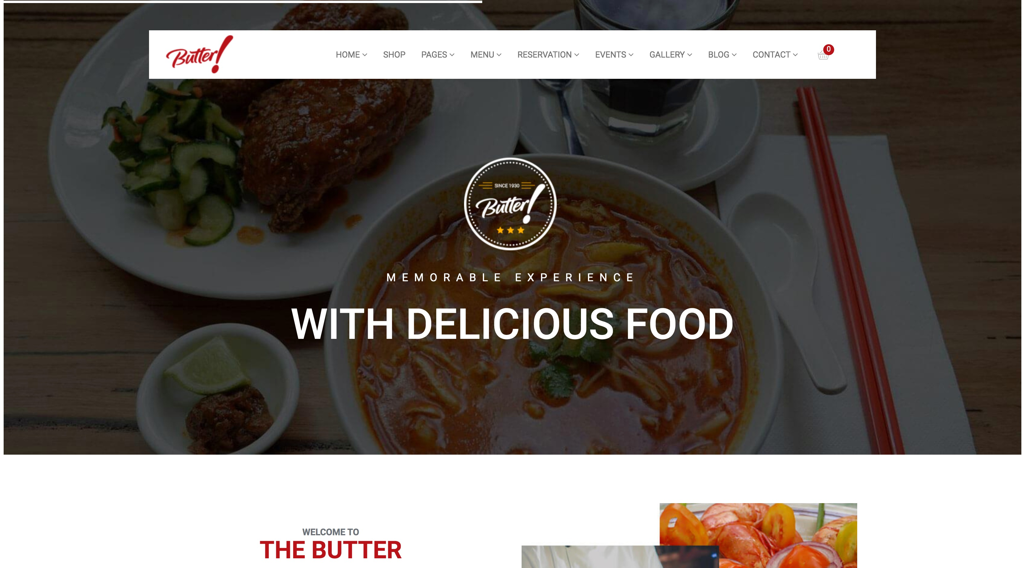 Butter-餐厅菜单面包咖啡比萨WordPress主题