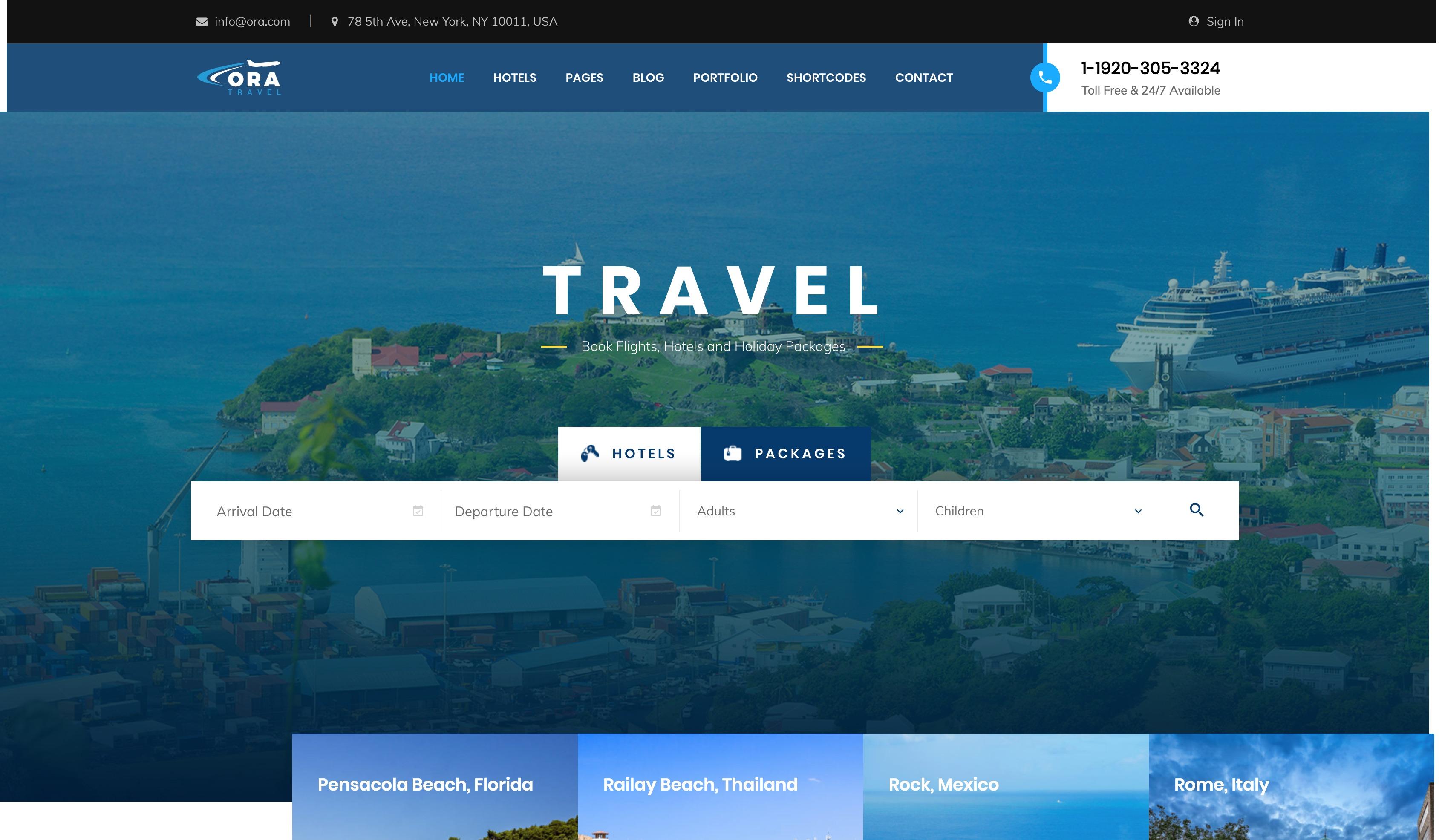 Ora-旅游预订旅行社酒店WordPress主题