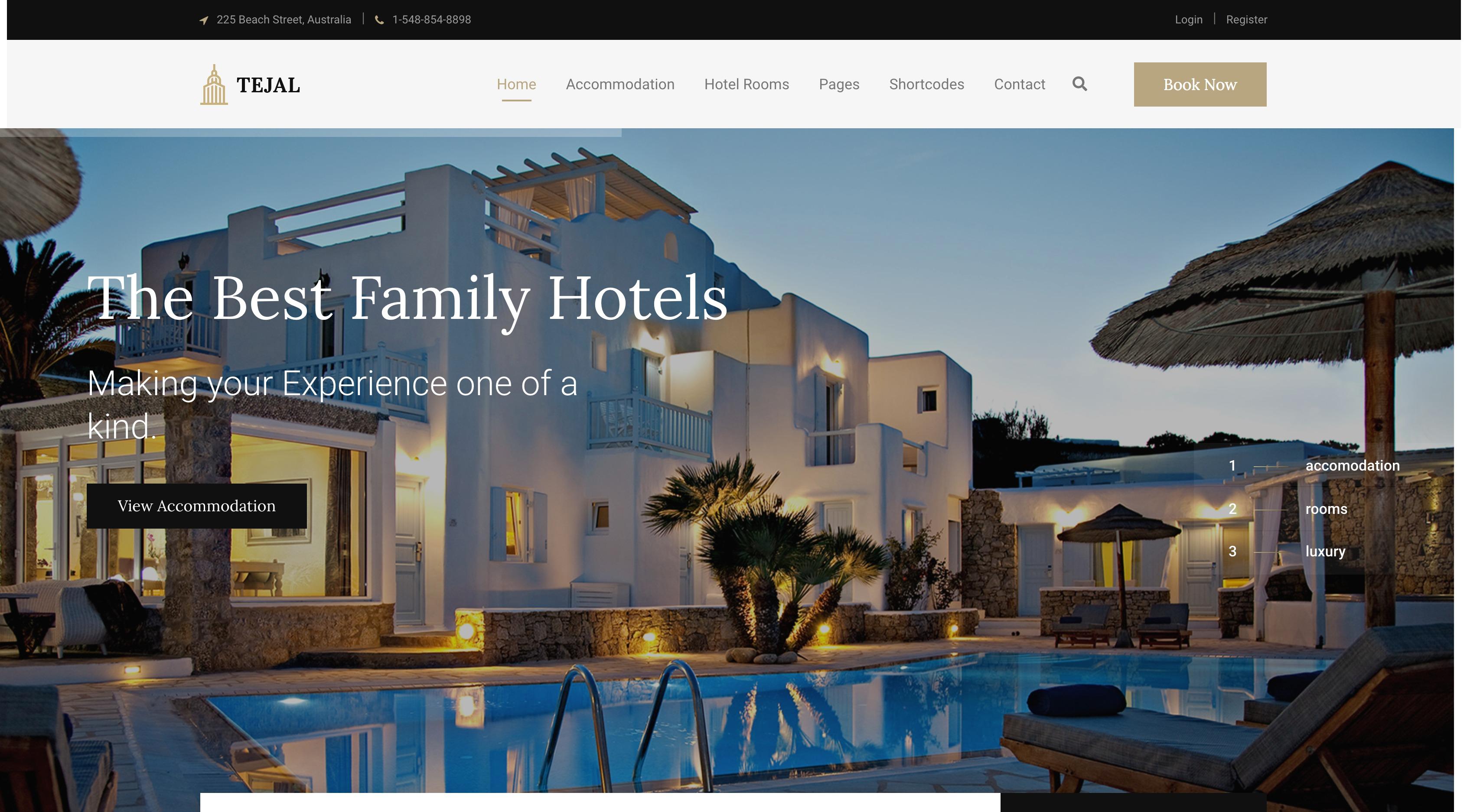 Tejal-酒店民宿度假预定WordPress主题