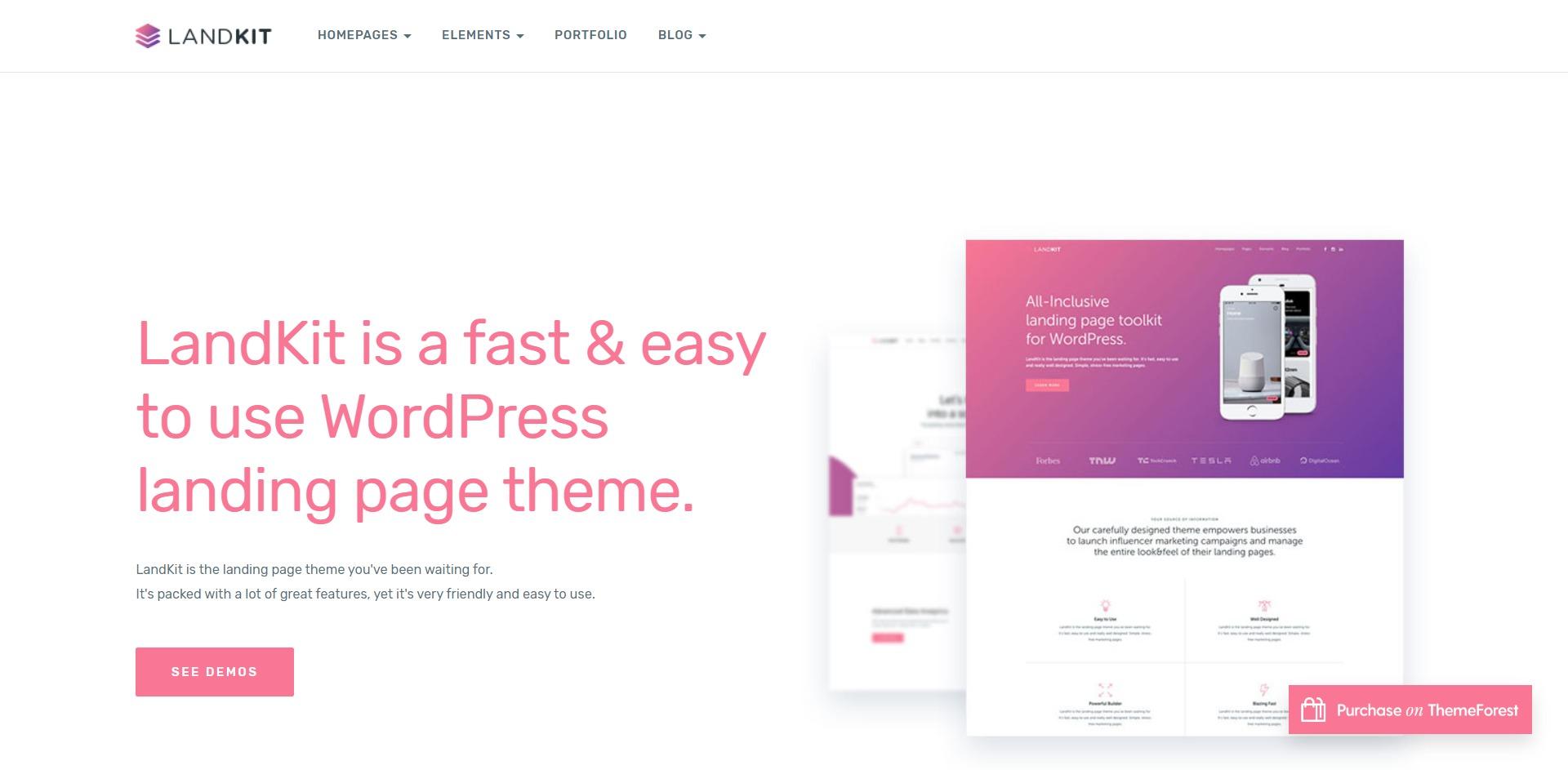Landkit-极简着陆页企业简介WordPress主题