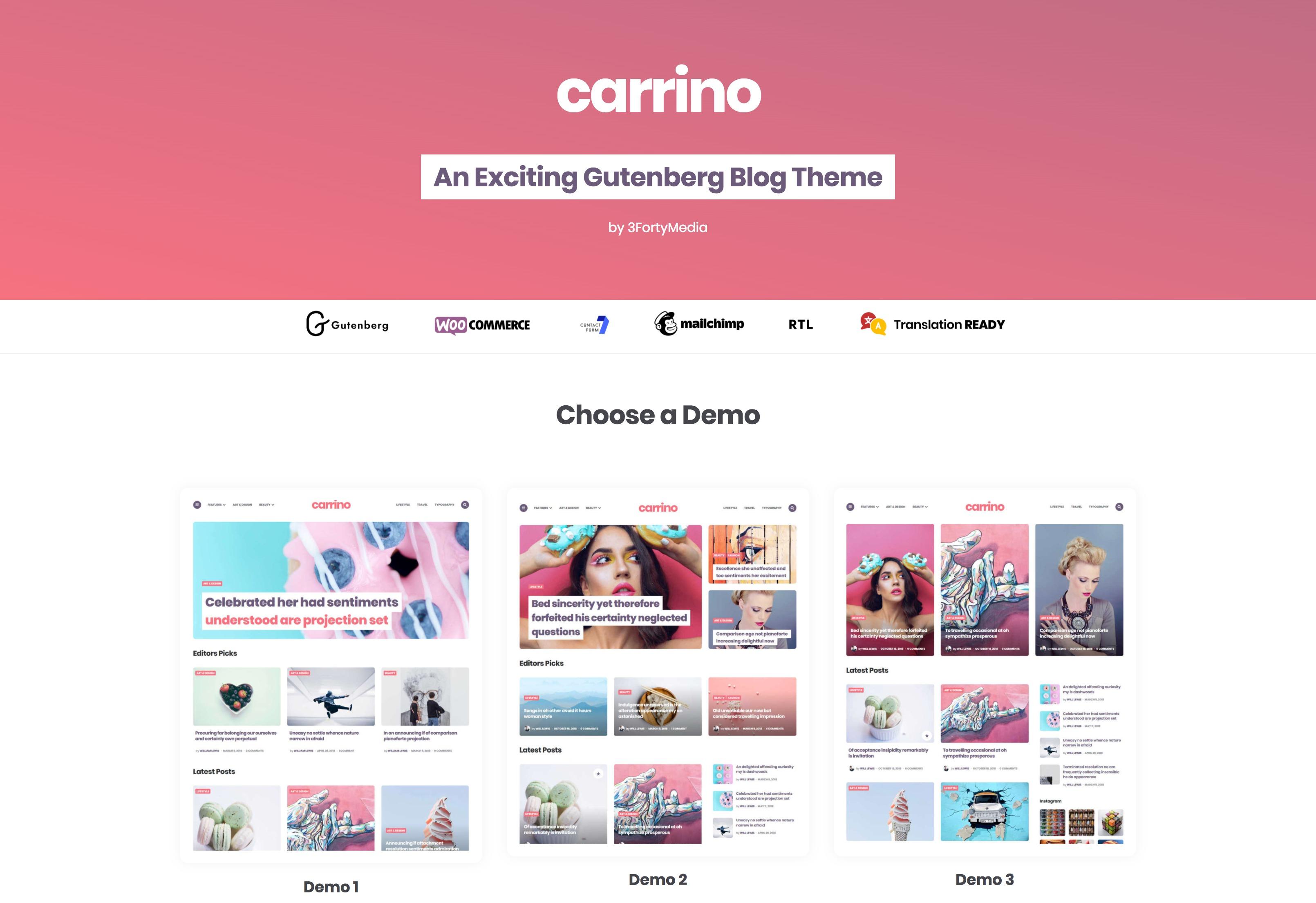 Carrino-可视化多功能博客图片WordPress主题