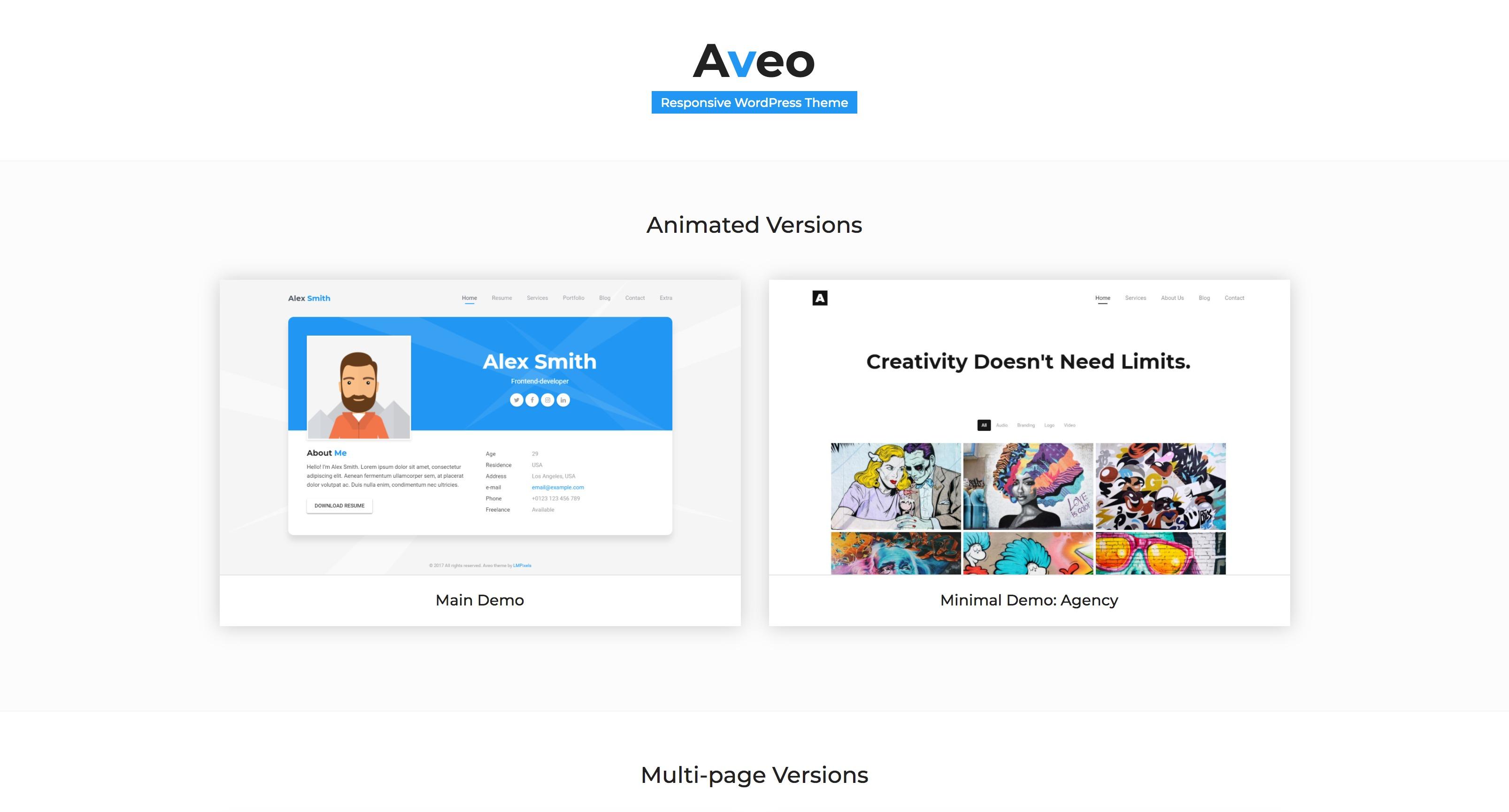 Aveo-个人简历图片作品展示WordPress主题