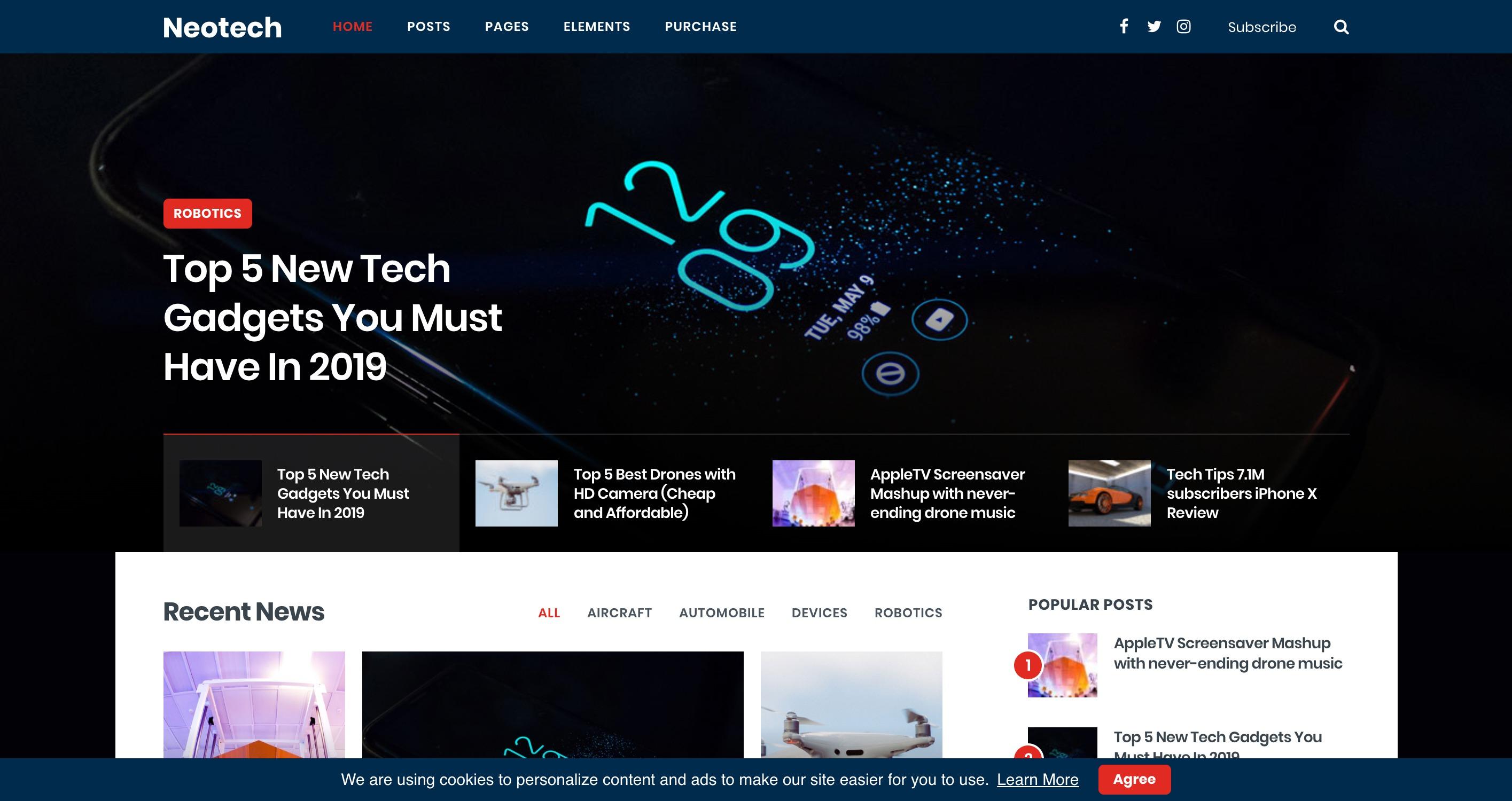 Neotech-可视化新闻博客杂志WordPress主题