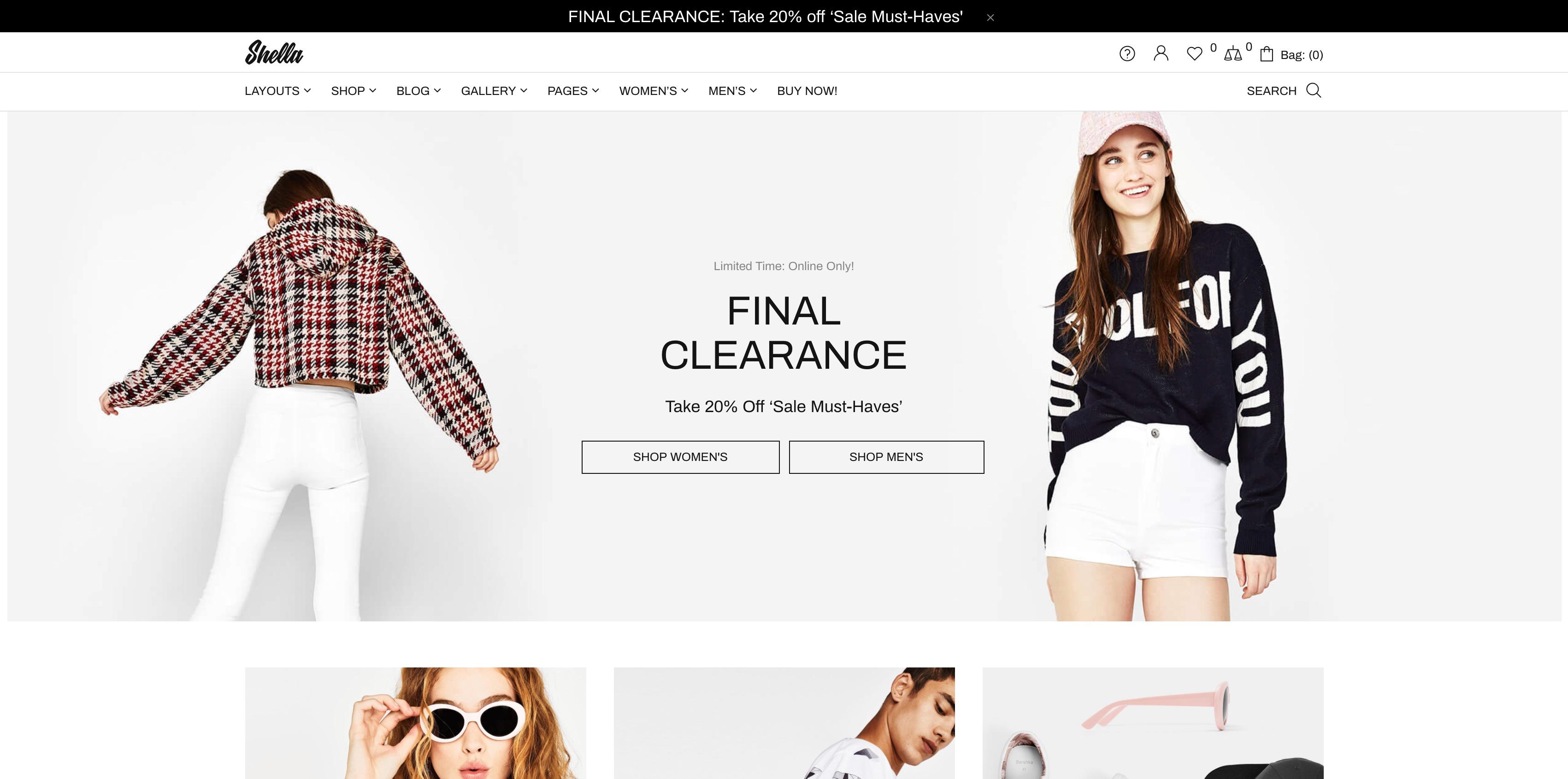 Shella-创意服装在线购物商城WordPress主题