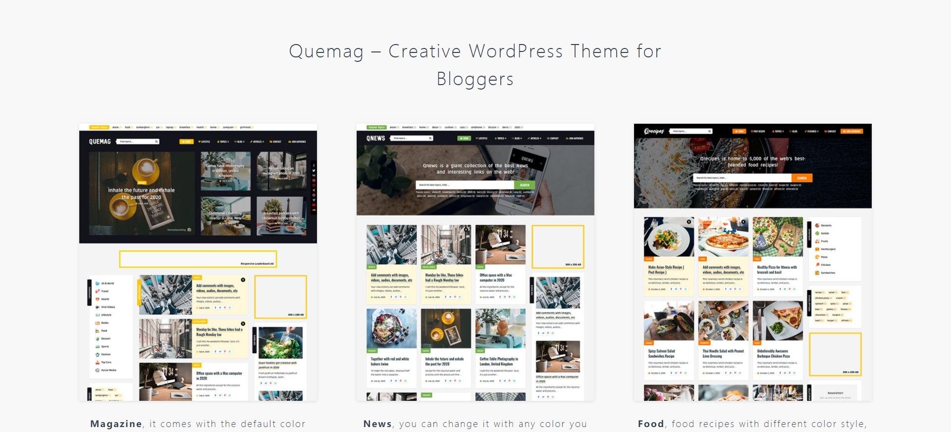 Quemag - 杂志新闻创意博客响应式WordPress主题