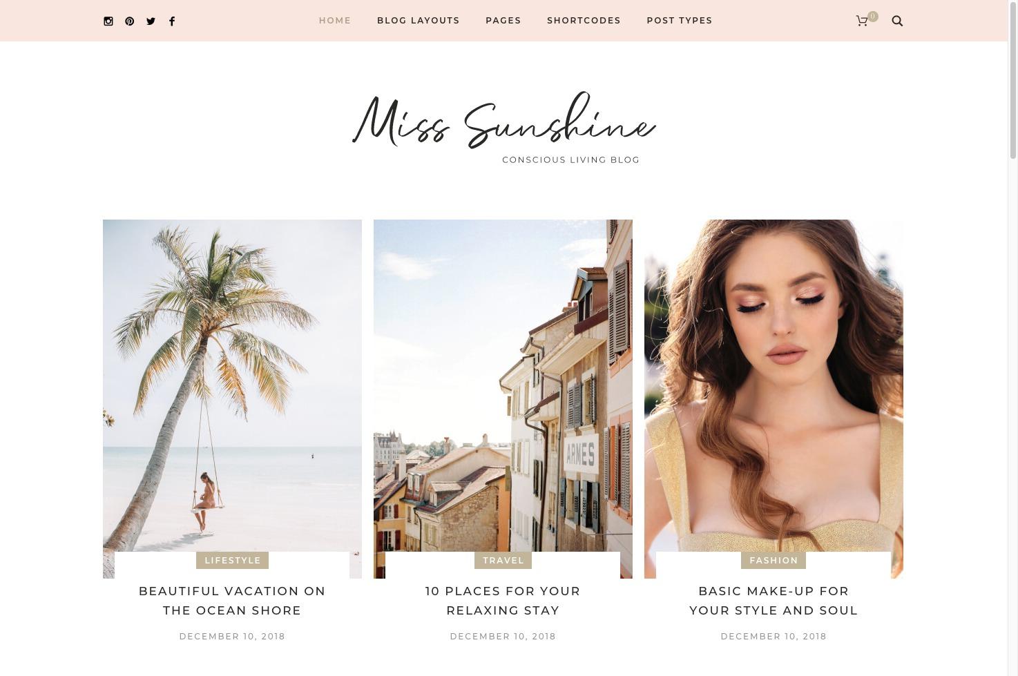 Miss Sunshine-美妆作品集时尚WordPress英文主题博客