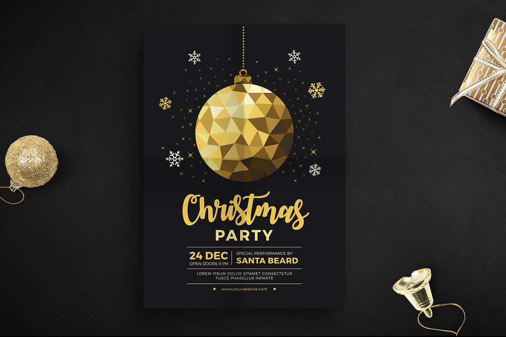 黄金圣诞节庆祝活动宣传传单海报模板
