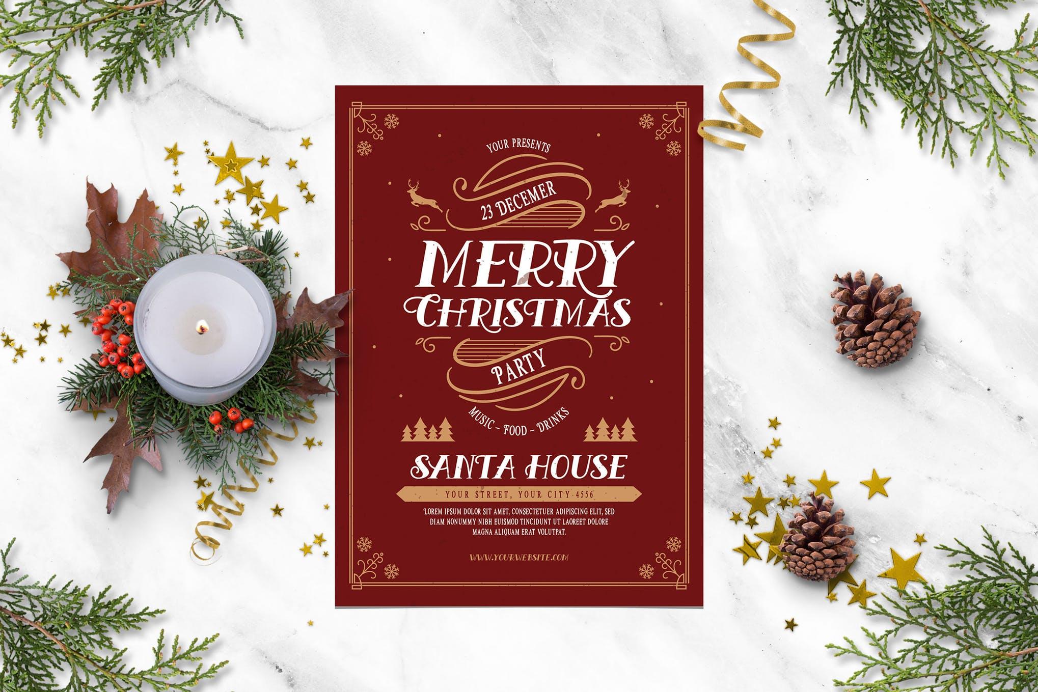 怀旧圣诞节庆祝活动传单庆卡