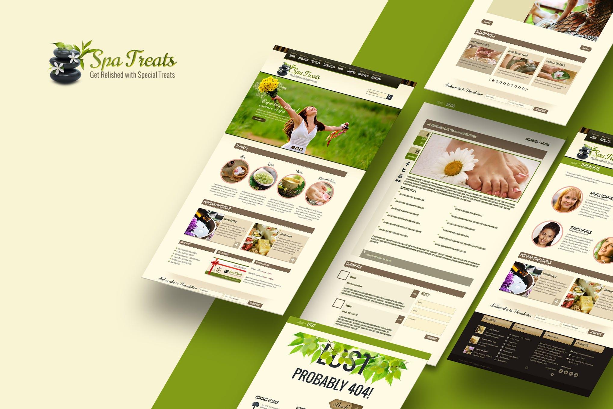 Spa Treats - 健康Spa美发沙龙HTML模板H5网页