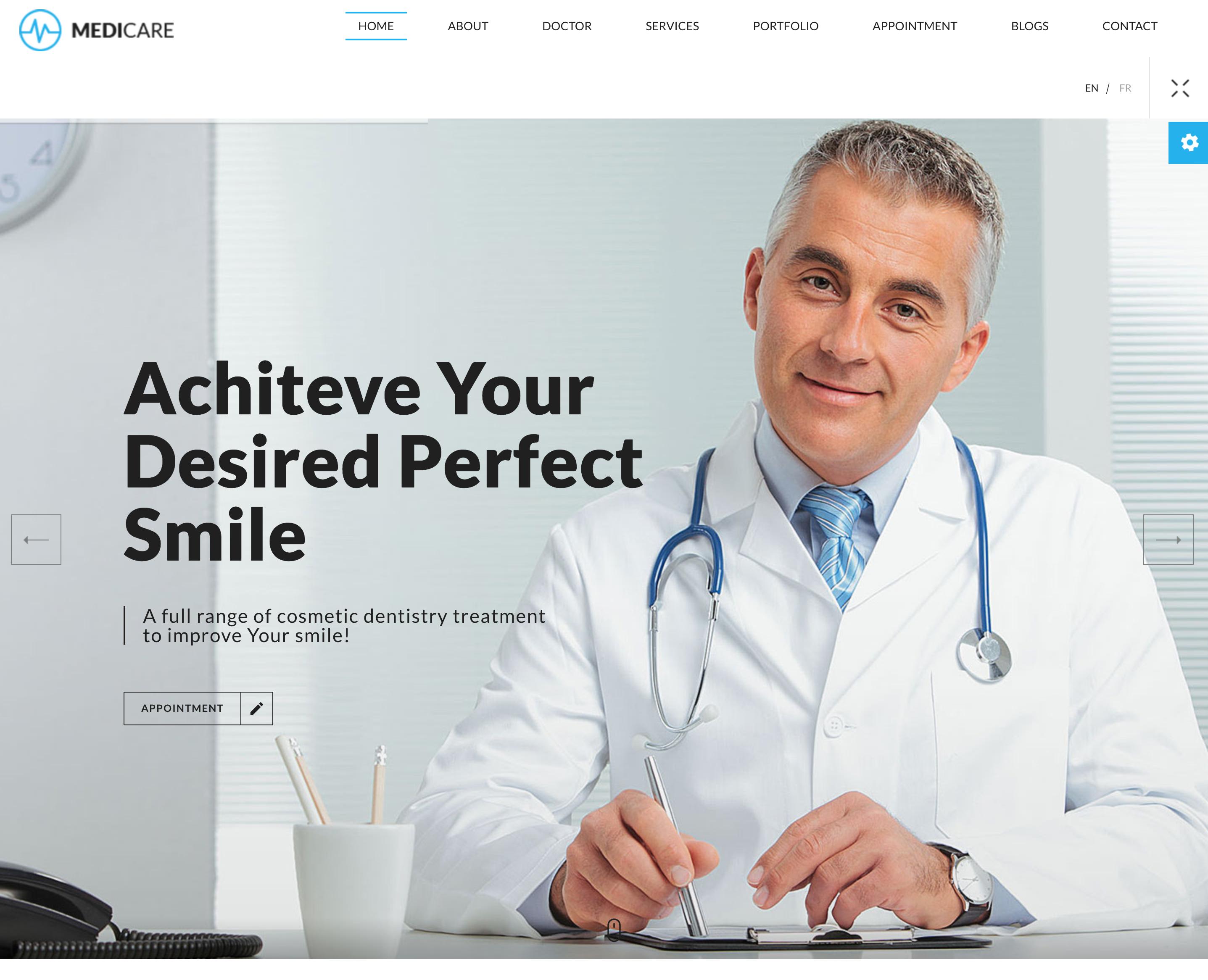 MediCare – 牙医医疗美容HTML5单页网站模板